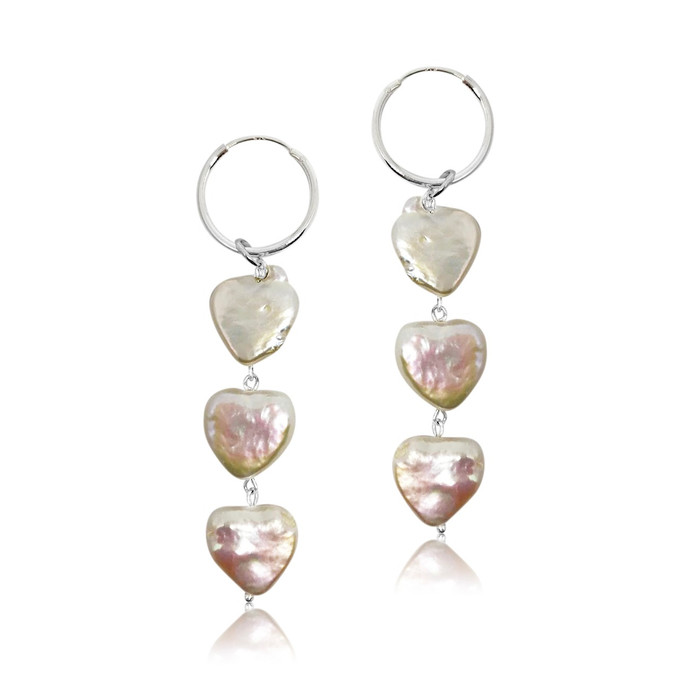 Triple Heart Pearls Hoop Drop Earrings, Sterling Silver