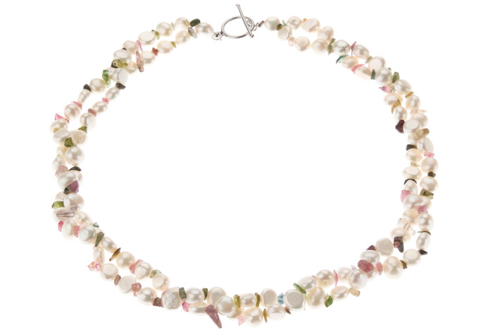 Double Strand White Baroque Pearl and Multicolour Tourmaline Necklace