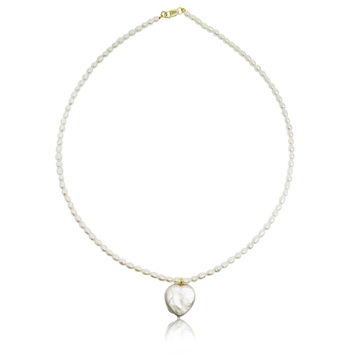 White Rice Pearl Choker with Heart Pearl Pendant