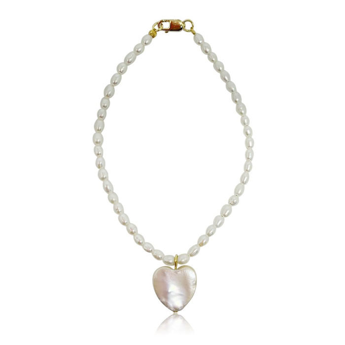 White Rice Pearl with Heart Pearl Charm