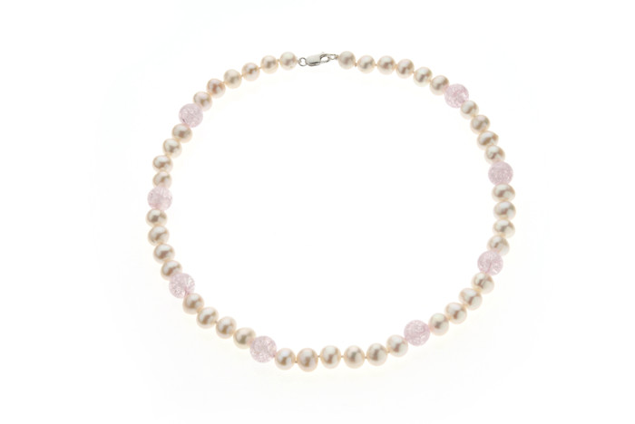White Pearl and Pink Frost Crystal Necklace