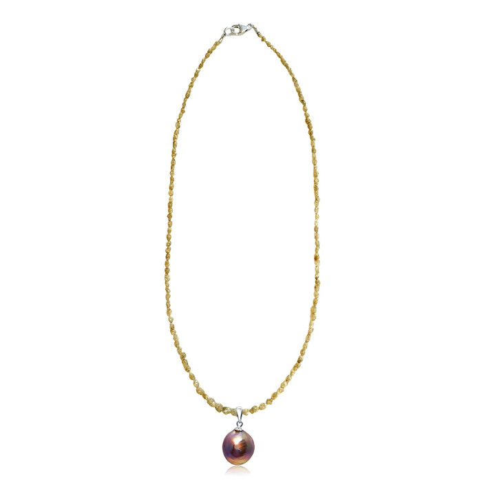 Yellow Diamond Necklace and Lustrous Rainbow Pearl Pendant