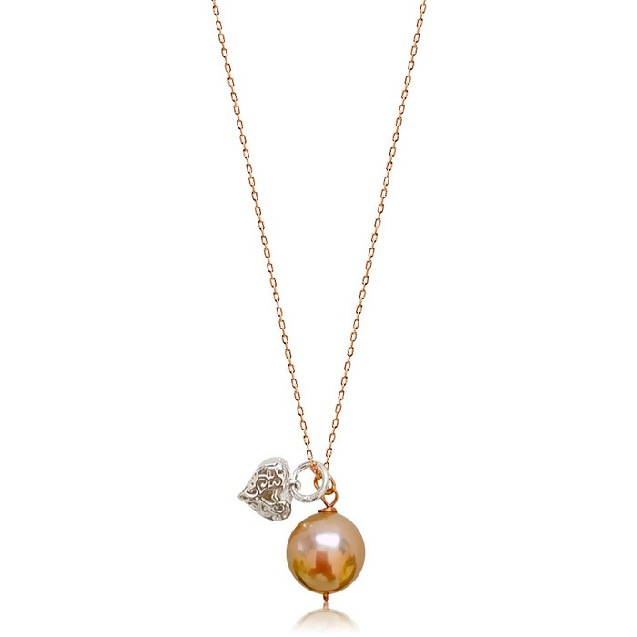 Lustrous Rose Pearl Pendant and Sterling Silver Carved Heart Charm Necklace
