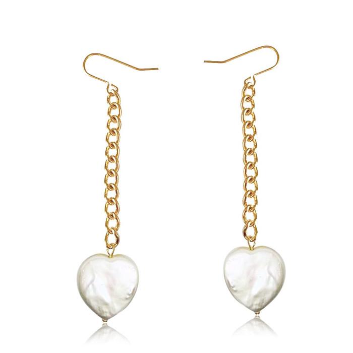 White Heart Shape Pearl Gold Chain Drop Earrings