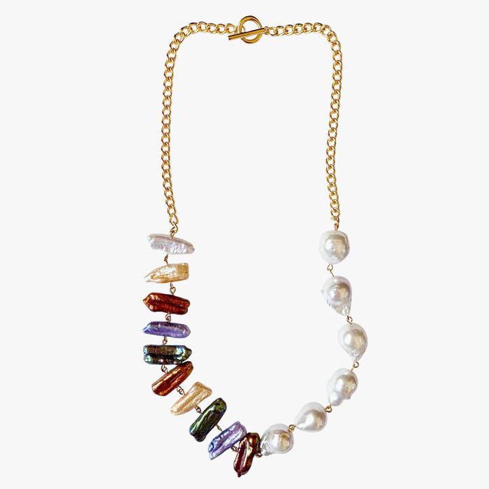 Multicolour Biwa Pearl and White Baroque Pearl Gold Chain Necklace