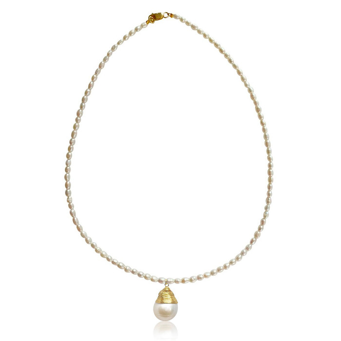 White Rice Pearl Necklace with Baroque Pearl Pendant