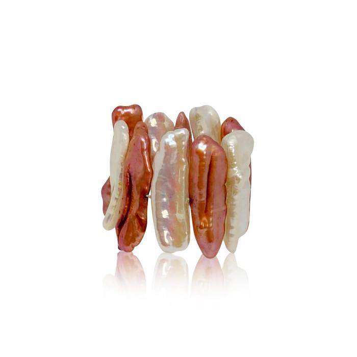 Multicolour Biwa Pearl Stretchy Ring