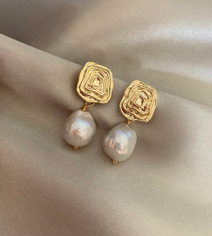 Large Baroque Pearl Textured Gold Earrings