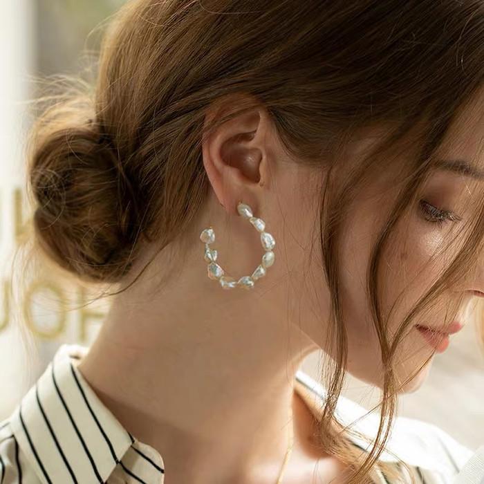 Baroque Pearl Open Gold Hoops Earrings