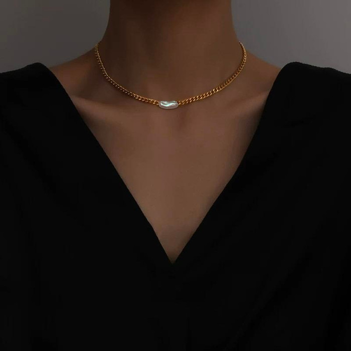 Bailey Long Baroque Pearl Gold Chain Choker Necklace