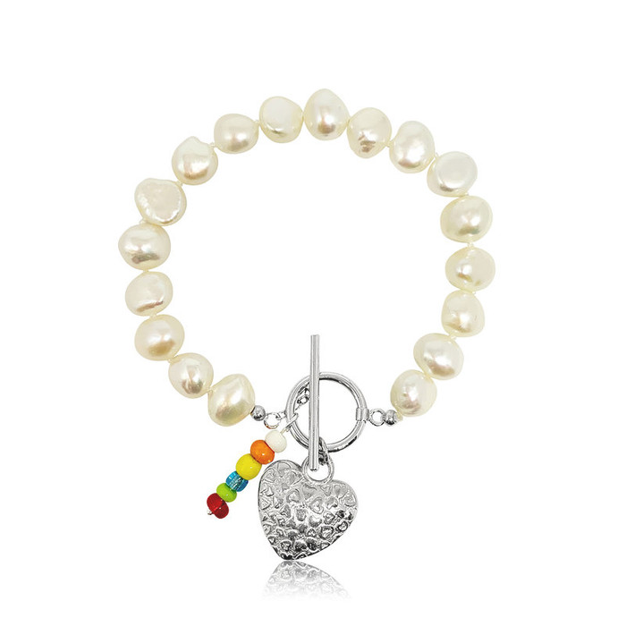 Jasmine Baroque Pearl Bracelet with Silver Heart