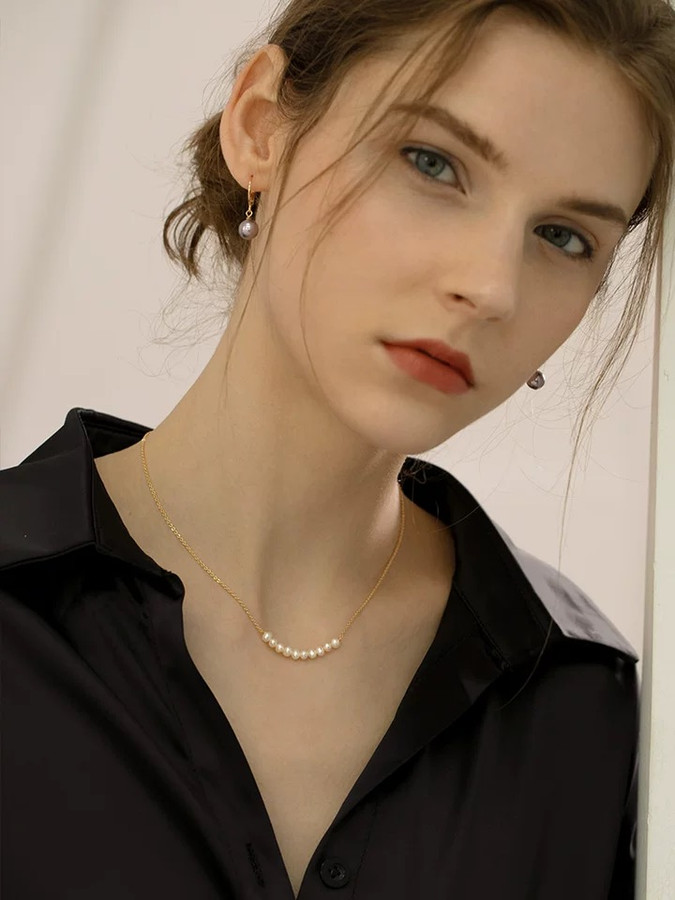 Lydia Dainty Pearl Chain Choker Necklace