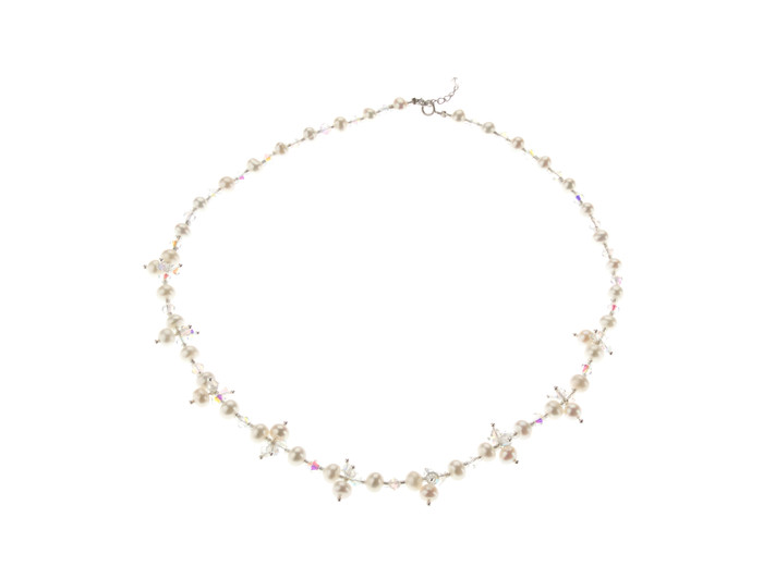 Hand Woven Pearl and Crystal Bridal Necklace