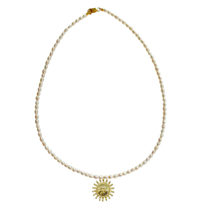 Dainty Pearl Choker Necklace with Sun Face  Pendant