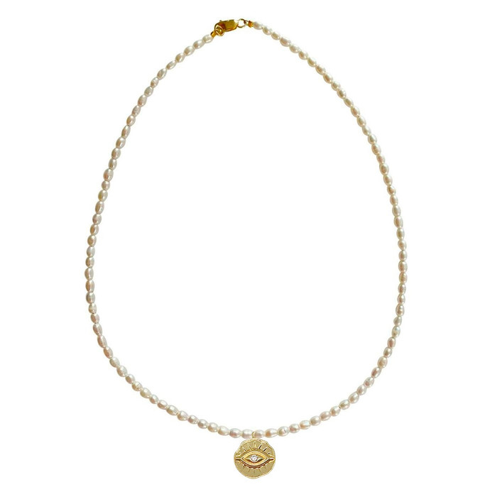Dainty Pearl Choker Necklace with Devil Eye Pendant