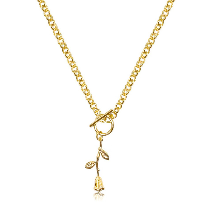 Gold Rose T-Bar Chain Necklace