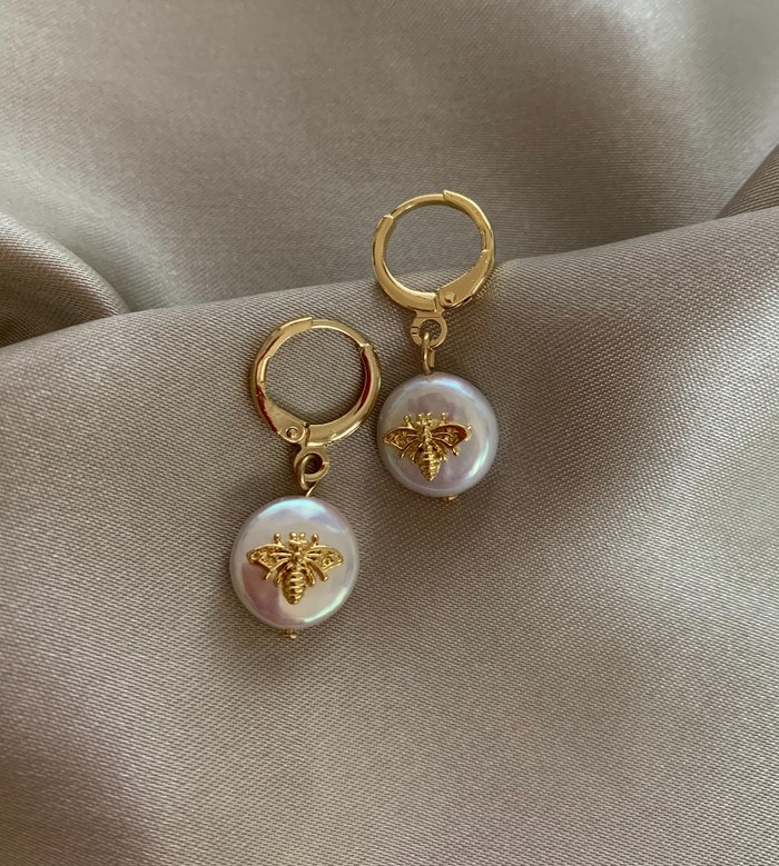 Golden Bubble Bee Pearl Hoops Earrings