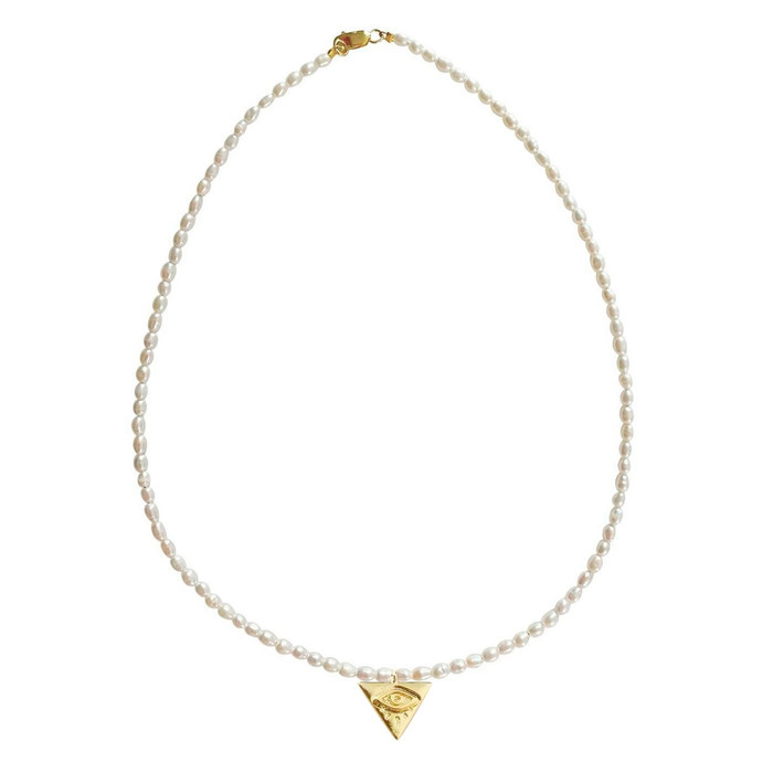 Dainty Pearl Choker Necklace with Triangle Evil Eye Pendant