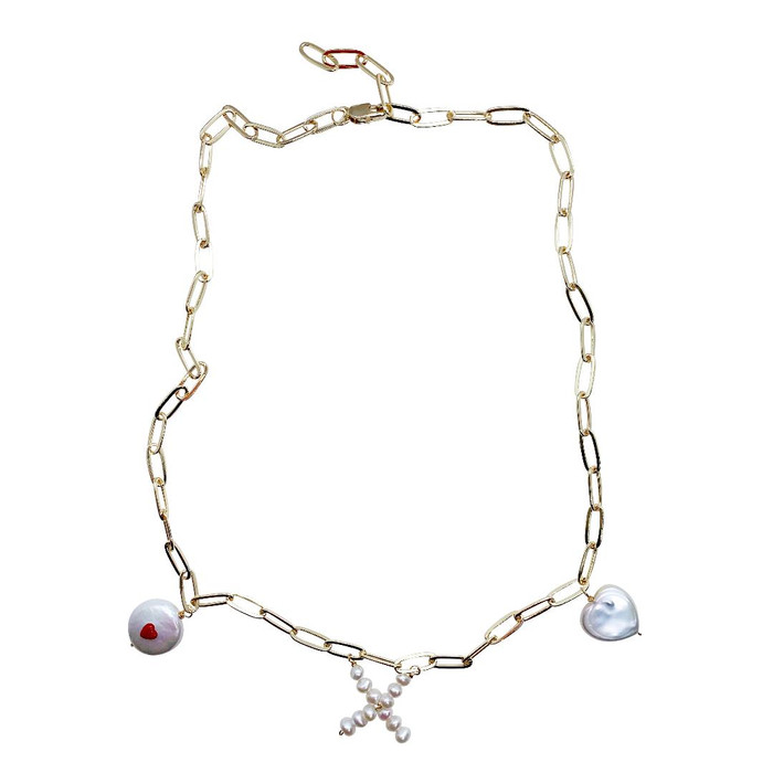 Heart & Kiss Elongated Link Chain Necklace