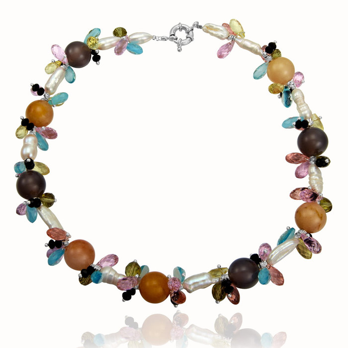 Keshi Pearls Necklace with Agate Balls and Faceted Crystals