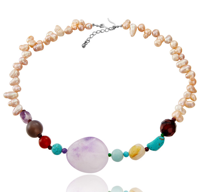 Pink Baroque Necklace with Amethyst, Agates &Turquoise