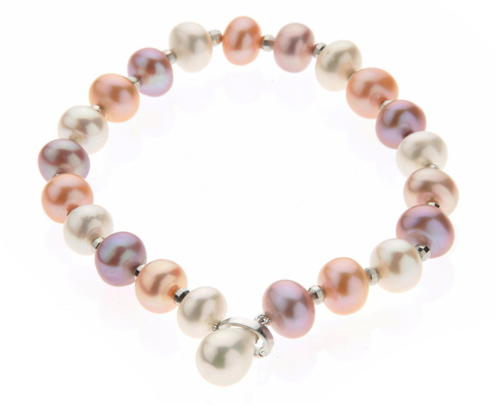 Multicolour Pearls & Silver Beads Bracelet