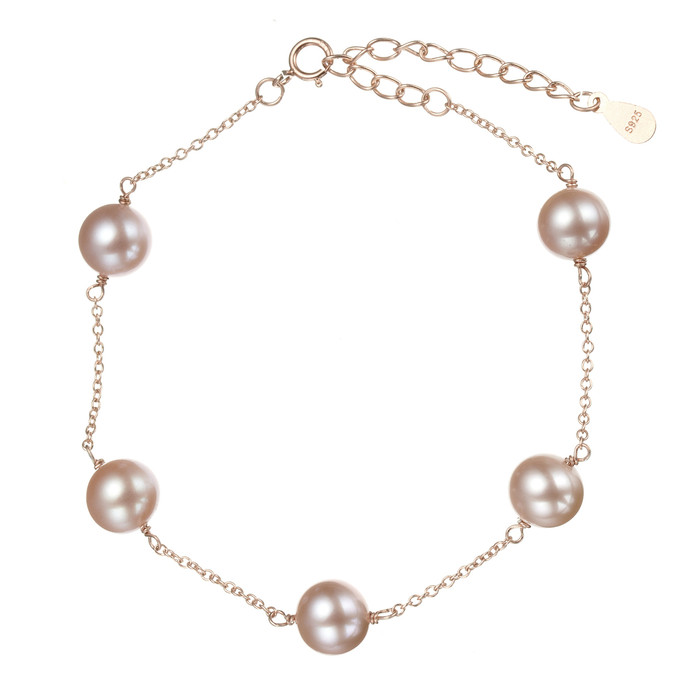 Lilac Round Pearl Bracelet with Star or Heart Charm, Rose Gold