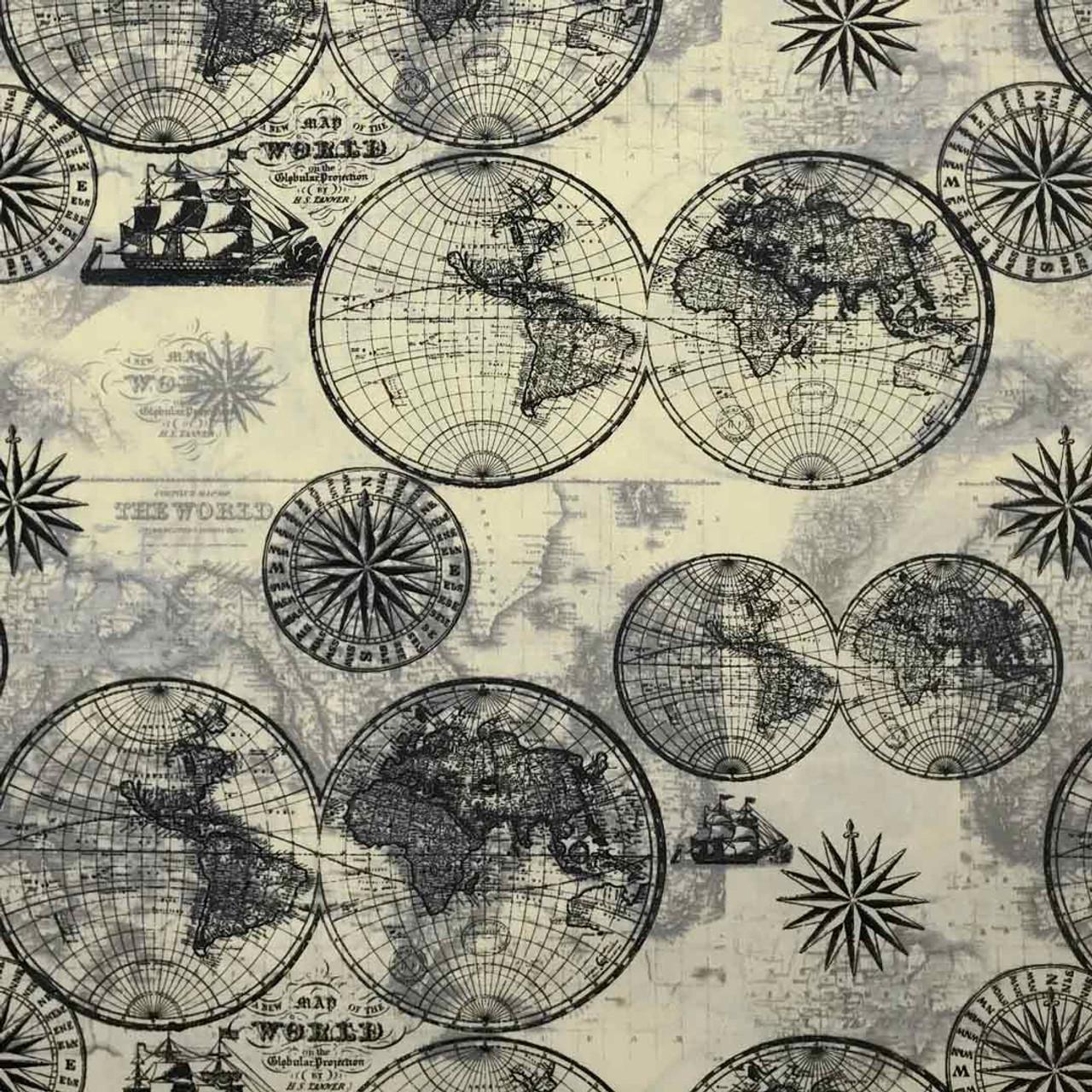 Nautical World Map Microwave Corn Heating Pad