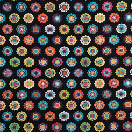 Vibrant pastel flowers on a black background - awesome pattern for your corn bag warmer!