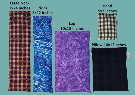 Picture showing all 5 sizes of Our Microwave Corn Heating Pads - Neck Warmer, Lap Warmer (Back Heating Pad), Pillow Warmer, Hand Warmer, and NEW LARGE NECK WARMER