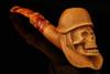 Soldier Skull with Helmet Block Meerschaum Pipe with custom case 12771