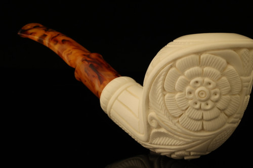 Embossed Cobra Hand Carved Block Meerschaum Pipe with fitted case 12778