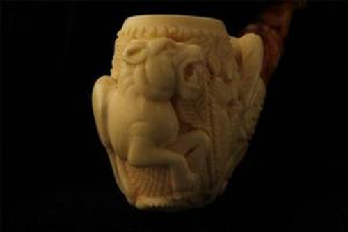 Jungle Hand Carved Meerschaum Pipe by Master Carver SENER 4156 in fitted CASE