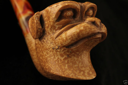 Bulldog Hand Carved Block Meerschaum Pipe in a fitted CASE 4640 pipa New Model