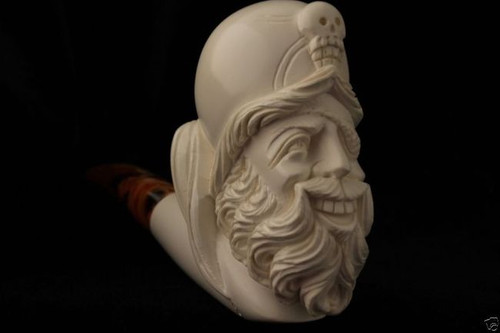 Pirate of Caribbean Hand Carved Block Meerschaum Pipe in a fitted CASE 5357 New