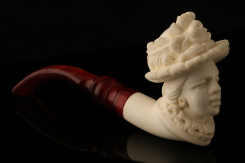 Victorian Lady Meerschaum Cigarette Holder by E. CEVHER in fit case pipe 7023