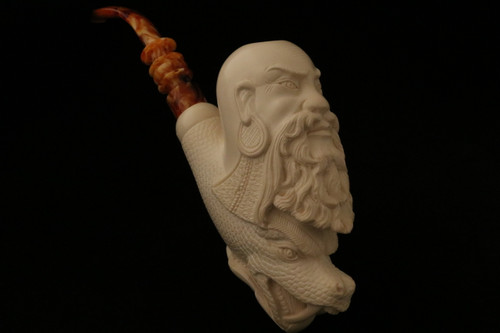 Chinese Wise and Dragon Meerschaum Pipe by I. Baglan in a case 8169