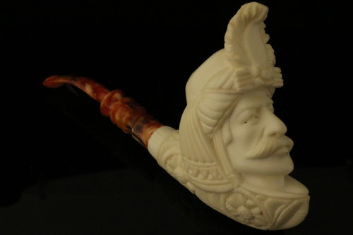 Sultan Hand Carved Block Meerschaum Pipe by Emin Brothers in case 8146