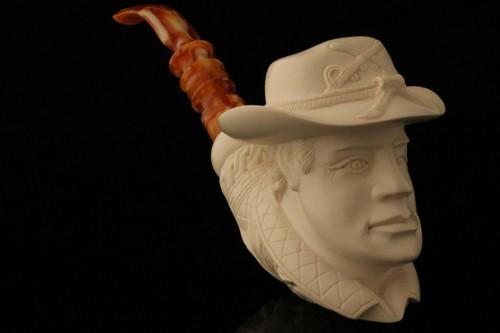 Buffalo Soldier Block Meerschaum Pipe by I. Baglan in a fit case 8396