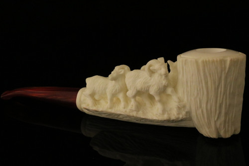 Goats Hand Carved Block Meerschaum Pipe in a fitted CASE 8435