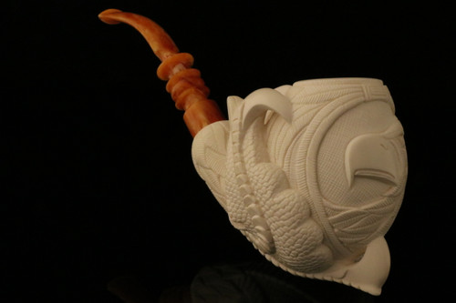 Eagle Medallion Claw Hand Carved Meerschaum Pipe by I. Baglan in case 8449