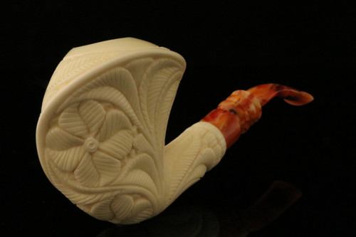 Beret Block Meerschaum Pipe Carved by Emin Brothers in case 8491