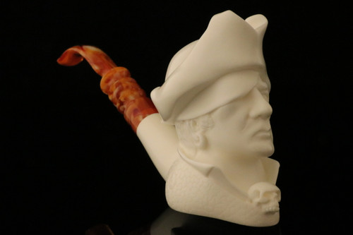 Pirate Hand Carved Block Meerschaum Pipe in a fitted CASE 8578