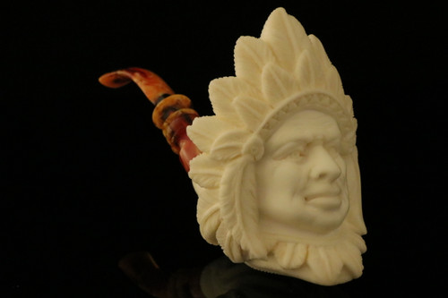 Big Chief Block Meerschaum Pipe by Emin Brothers in a fit case 8768