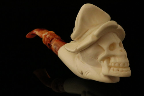 Skull Hand Carved Block Meerschaum Pipe by Cevher in CASE 8690
