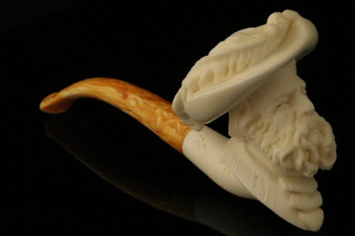 Cavalier BLOCK Meerschaum Cigarette Holder Pipe by Cevher in CASE 9124