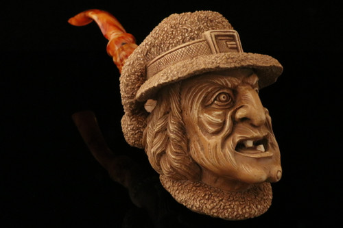 Witch Block Meerschaum Carved Pipe by I. Baglan in custom case 9268
