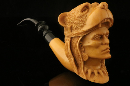 Hercules Hand Carved Meerschaum Pipe by Kenan in a fit CASE 9306