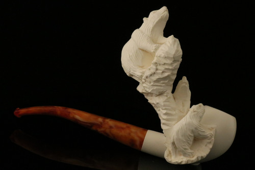 Polar Bears Hand Carved Block Meerschaum Pipe in a fit CASE 9437