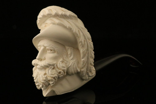 Cavalier Hand Carved Block Meerschaum Pipe with a fitted CASE 9788